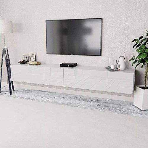 Tidyard 2xMesas para TV Mueble TV Salón Mesa Televisión Mueble Comedor Televisor Bajo de Estilo de Moderno PVC 120x40x34cm Blanco ⭐