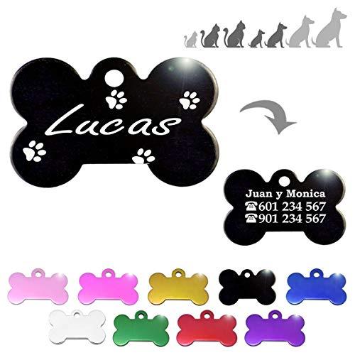 Hueso para Mascotas pequeñas-Medianas con Patas Placa Chapa Medalla de identificación Personalizada para Collar Perro Gato Mascota grabada (Negro)
