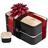 UMAMI Premium Bento Lunch Box For Adults/Children - Includes 1 Sauce Pot & Cutlery 3 Pieces -...