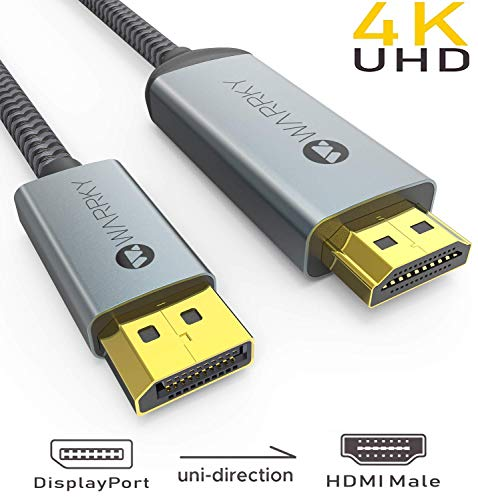 4K DisplayPort to HDMI Cable, WARRKY 10ft [ Gold-Plated Connectors, Aluminum Shell ] Uni-Directional 4K UHD High Speed DP to HDMI Cable Compatible for Lenovo, HP, DELL, GPU, AMD, NVIDIA, More