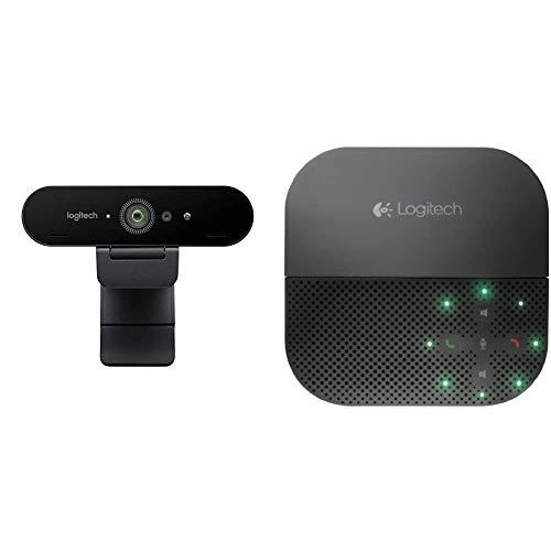 Logitech Brio ULTRA-HD PRO Webcam, 4K HD 1080p, 5-fach Zoom, Hohe Bildfrequenz, HDR und RightLight 3, Gesichtserkennung mit Windows Hello + Logitech P710e Speakerphone Kabellose Freisprecheinrichtung