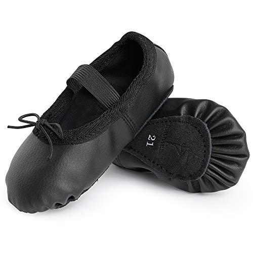 Ballettschuhe aus Leder Ballettschläppchen Tanzschuhe Gymnastikschuh mit Ganze Ledersohle für Kinder Damen Schwarz 37