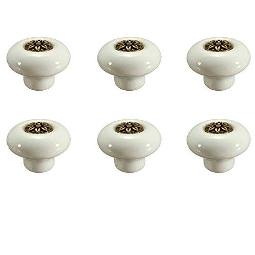 fbshop (TM) 6pcs 32mm retro pomelli in ceramica/mobili pulsante/mobili maniglie per mobili della cucina, armadio, comò, cassetti, anta camera da letto e bagno cameretta decorazione ecc.