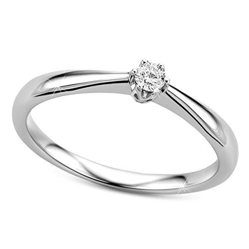 Orovi Ring für Damen Verlobungsring Gold Solitärring Diamantring 9 Karat (375) Brillianten 0.09crt Weißgold Ring mit Diamanten Ring Handgemacht in Italien