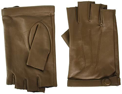 YISEVEN Damen Fingerlose Schaffell Lederhandschuhe Halbfinger Autofahrer-Handschuhe Winter Leder Geschenk, Taupe Klein/6.5