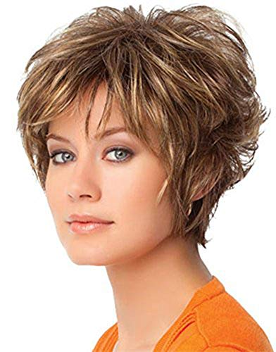 Short Brown Wigs for Women, Light Brown Mixed Blonde Synthetic Daily Hair Wigs, Short Straight Bob Cut Wigs, Heat Resistant Fiber Full Wig