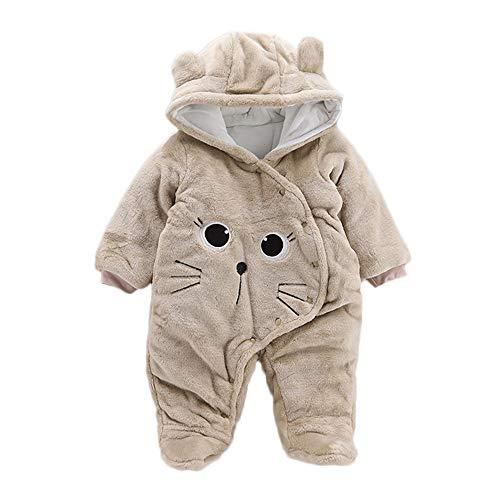 Covermason Vêtement Bébé Garçon Hiver Chaud Pyjama Naissance Combinaison Bébé Fille À Capuche Automne Grenouillère Jumpsuit Tenues Vêtements Manteau Barboteuse (0-3 Mois, Khaki)