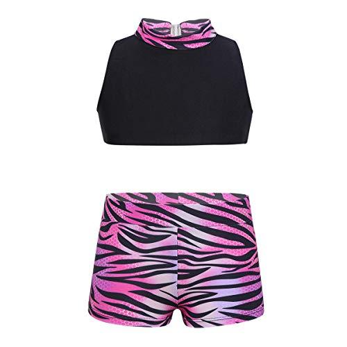 YOOJIA Ropa Deportiva Niñas Conjunto de Gimnasia 2Pcs Camiseta Pantalones de Leopardo Traje de Baño Deporte (5-14 Años) Rosa y Negro 5-6 Años