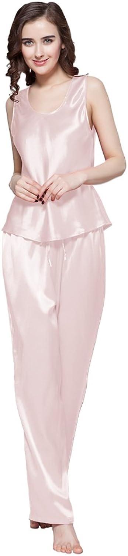 LilySilk Women's 100 Pure Silk Camisole Pajama Set Long Sleeveless 22 Momme Mulberry Silk