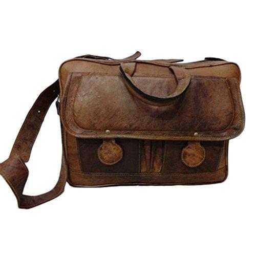 Mad Over Shopping Glattleder Schultertaschen Handarbeit aus echtem Leder Laptop Office Herren Aktentasche Vintage Umhängetasche