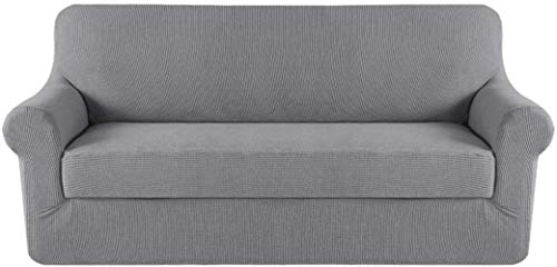 Mazu Home - Juego de sofá elástico de 2 piezas, funda de cojín, juego de sofá, juego de muebles (funda inferior y funda de cojín), un total de 3 piezas, funcional de textura de lujo jacquard (salvia)