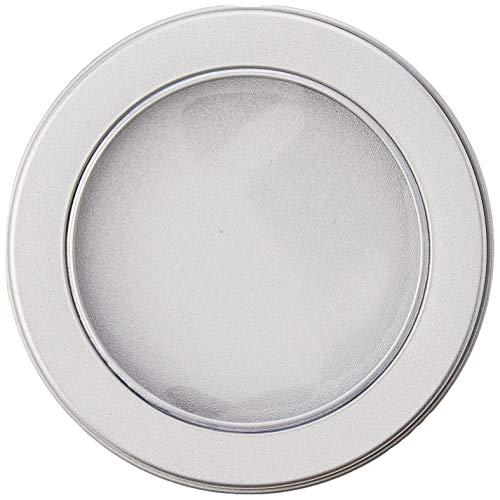 Opbergdoos, rond, met transparant deksel, voor parels en accessoires, metaal, aluminium