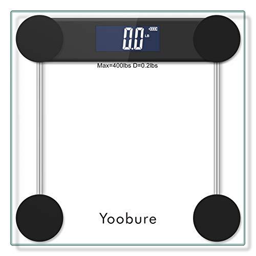 Báscula digital de baño, balanza de peso corporal con pantalla retroiluminada grande, tecnología de paso de alta precisión, 400 libras