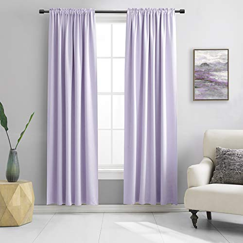 DONREN 84 Inches Long 2 Panels Lavender Purple Curtain Panels for Bedroom - Room Darkening Rod Pocket Thermal Insulated Drapes for Living Room,42 W x 84 L