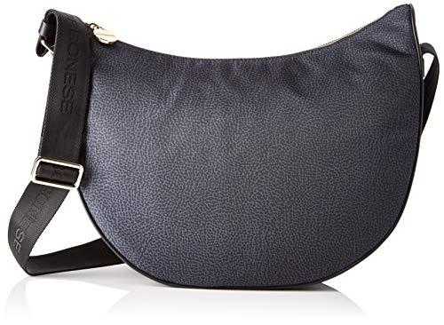 Borbonese Luna Bag Middle, Borsa a tracolla Donna, Nero (Nero),...