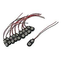 10個スナップ9V(9ボルト)バッテリークリップコネクターIタイプブラックWケーブル