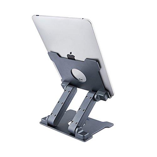 Tablet Ständer, Aluminium Einstellbarer Foldabele Augenhöhe Solide Staender Halter (Bis zu 15-Zoll) für Microsoft Surface Serie Tablets, iPad Serie, Samsung Galaxy Pads, Amazon Kindle Fire usw. (Grau)