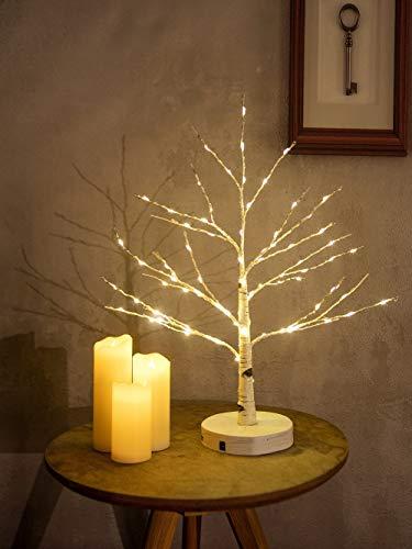 Centrotavola Decorativo Artificiale | 24 LED Bianco Caldo a Stella con Comando USB | Decorazione da Tavolo Albero Chiaro | Decorazioni per Interni per Feste Natalizie di Pasqua (Albero e Stelle)