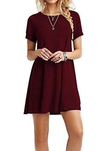 Zero City Damen Tunika-T-Shirt, kurzärmelig, lockere Passform, Baumwolle Gr. L, wein
