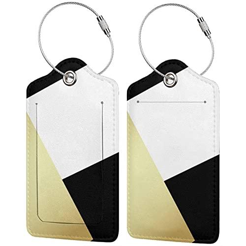 2 etiquetas para equipaje, etiquetas de cuero de la PU, etiquetas de la cubierta de privacidad con lazo de acero inoxidable para bolsa de viaje, maleta geométrica, negro, blanco y dorado metálico