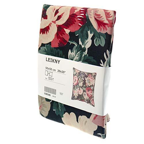 Ikea LEIKNY Kissenbezug in schwarz/bunt; mit Blumenmuster; 100% Baumwolle; (50x50cm)