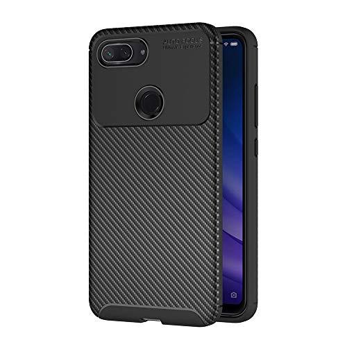 AICEK Compatible Xiaomi Mi 8 Lite Hülle, Schwarz Silikon Handyhülle für Xiaomi 8 Lite Schutzhülle Optik Karbon Soft Hülle (6,26 Zoll)