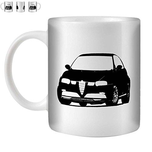 Stuff4 Tee/Kaffee Becher 350ml/Schwarz/Alfa 147 GTA V6/Weißkeramik/ST10