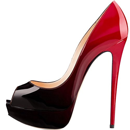 ELASHE - Zapatos para Mujer - Tacón de Aguja -15CM Peep Toe - 3CM Plataforma Tacones Mujer Fiestas Oficina Negro-Rojo EU38