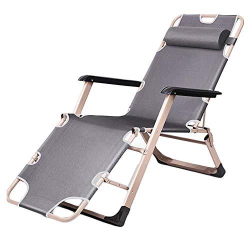 Opklapbare stalen kantelbare ligstoel met kussen Strand Camping Zwembadhangmat,Gray