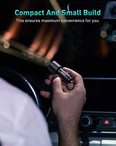 AUKEY Autoladegerät USB C 36W kompatibel mit iPhone 12, PD&QC 3.0 Zigarettenanzünder aus Metall, kfz Ladegerät mit LED, kompatibel mit iPhone 12 Pro/12 Pro Max, iPad Pro, Samsung, Huawei