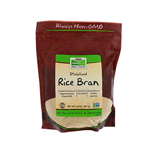 NOW Foods, Rice Bran, Source of Magnesium, Vitamin B6, Fiber and Iron, USA-Grown, Gluten-Free and Certified Non-GMO, 20-Ounce