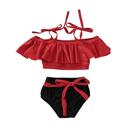 XCH XiaoCheyh Summer Kids Baby Girls Rüschen Zweiteilige Feste Badebekleidung Bowknot Suspender Badeanzug Bikini Outfits