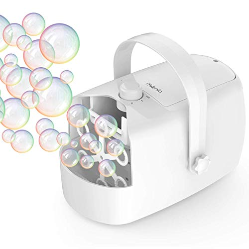 iTeknic Bubble Machine, Automatic Bubble Maker for Kids Toddlers, 5000+ Bubbles/min Durable Bubble Blower for Birthday Wedding Parties, Portable for Outdoor/Indoor Use, Powered by Plug-in or Batteries