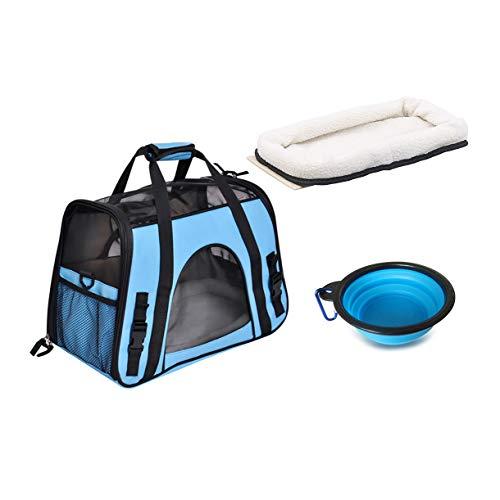 Queta Weich Gepolsterte Hund Transporttasche FaltbareTransportbox Tiertragetasche mit fressnapf Haustiertasche Katzentransportbox Hundereisetasche (41 * 20 * 27cm) (Blau)