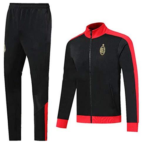 QGGQ Fußball Jersey Milǎn Training Anzug Herren Sweatshirt Langarm Trainingsanzüge Top + Hosen, Outdoor Sport tägliche Leben Herbst und Winter Weiche Sportbekleidung XXL