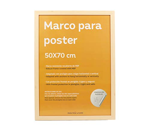 Nacnic Marco Tono Madera de Nogal para Fotos, Posters, láminas, Diplomas. Tamaño 50x70cm.Robusto de MDF y Frontal de plexiglas.Marco Madera de Nogal para Colgar