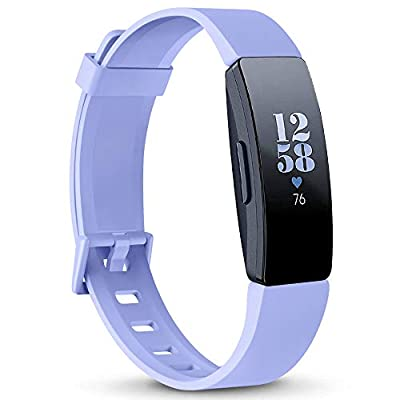 AK Soft TPU Wristbands Compatible with Fitbit Inspire HR/Fitbit Inspire/Fitbit Ace 2 Bands, Sports Waterproof Wristbands for Fitbit Inspire HR Fitness Tracker(Lavender, Small)