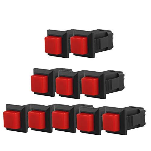 Larcele 11x13mm Pulsador Momentáneo Mini DIY Empujar Botón Cuadrado 10 Piezas ANKG-16 (Rojo)