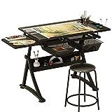 Wyhgry Mesa de Dibujo Plegable,Profesional Mesa de Dibujo Artistico,Vidrio Templado Mesa de Dibujo Ajustable en Altura,para el Hogar y Oficina