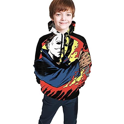 Sudadera con capucha para Halloween, Michael My-Ers, con bolsillo, Negro, 7-8 Años