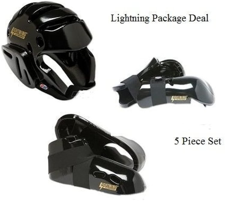 Lightning Schwarz Karate Sparring Gear Paket Deal–Erwachsene Groe