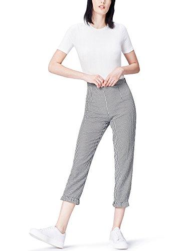 Marca Amazon - find. Pantalones Mujer, Negro (Black/white Check), 38, Label: S