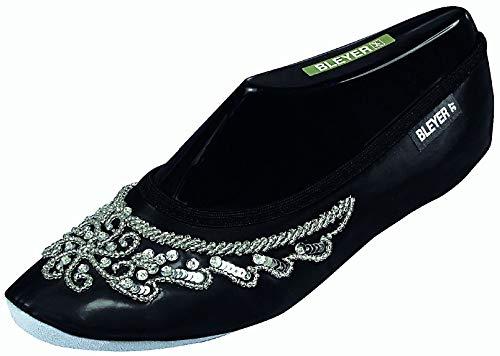Bleyer Pailettenbestickte Bauchtanzschuhe, Gymnastikschuhe orientalischer Tanz-Schuhe, schwarz-Silber (38)