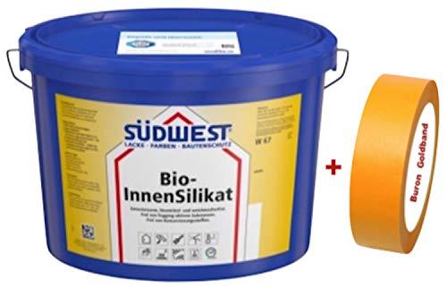 Südwest Bio-InnenSilikat 5 L weiss + Buron Goldband 30 mm
