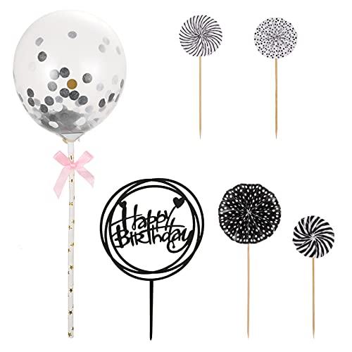 STOBOK 6 Piezas de Globos de Confeti para Tarta Decoración para Tarta de Cumpleaños ()