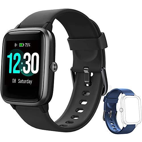 Yishark Reloj inteligente de fitness para mujer y hombre, con podómetro, pulsómetro, reloj deportivo Bluetooth, táctil, contador de calorías, monitor de actividad IP68 con cronómetros