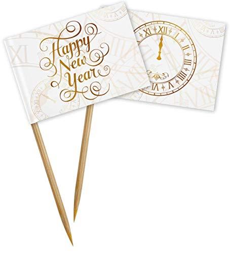 Party Piker mit Happy New Year Schrift 50 Stück Käsepiker Partyspieße Silvesterparty Deko