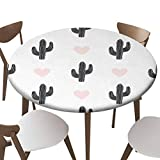 "SfeatrutMAT Indoor Outdoor Polyester Fitted Tablecloth Cover Flannel Backed Lining Stretched to Fits up 45""-56"" Diameter Tables Hand Drawn Pattern with Cactus and Hearts in Black and Pastel"