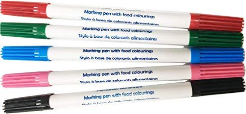 EPS - Lote de 5 rotuladores de doble punta y tinta comestible para pasteles