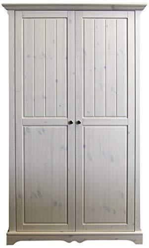 Steens Lotta Kleiderschrank/ Kinderzimmerschrank, 2 Türen, Wäschefach, 120 x 201 x 57 cm (B/H/T), Kiefer massiv, Weiß